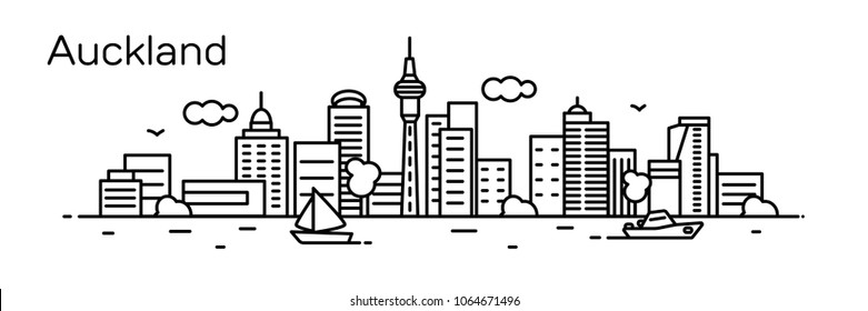 Auckland Panorama city. Vector illustration