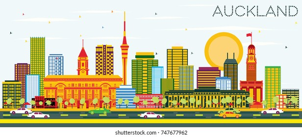 Auckland Skyline with Color Buildings and Blue Sky. Vector Illustration. Business Travel and Tourism Concept with Modern Buildings. Image for Presentation Banner Placard and Web Site.