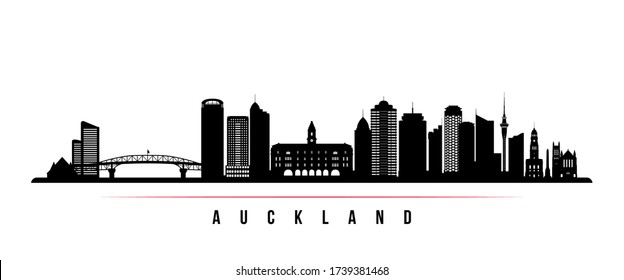 Auckland skyline horizontal banner. Black and white silhouette of Auckland, New Zealand. Vector template for your design.