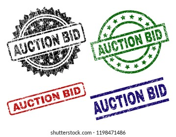 AUCTION BID seal prints with damaged texture. Black, green,red,blue vector rubber prints of AUCTION BID caption with scratched texture. Rubber seals with round, rectangle, medallion shapes.