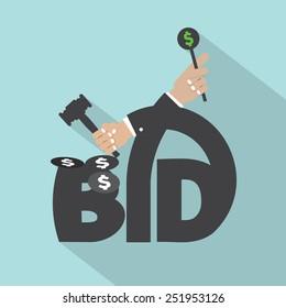 Auction Or Bid Typography Design Vector Illustration