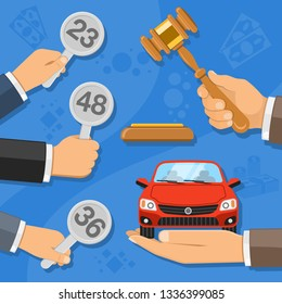 Auction and bidding concept. Auctioneer holding gavel in hand, and buyers holding in hand bids. sale car at auction. icon in flat style. isolated vector illustration