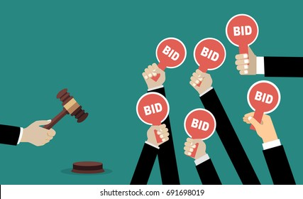 Auction and bidding concept. Hand holding auction paddle. Flat vector illustration.