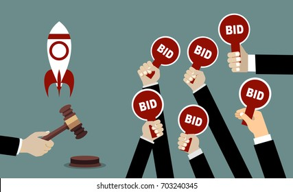 Auction and bidding concept. Hand holding auction paddle. Selling a startup. Flat vector illustration.