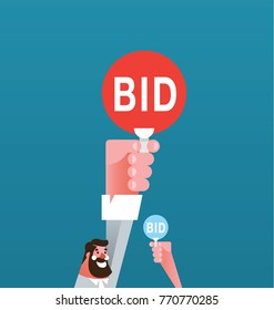 Auction and bidding concept. Hand holding auction paddle