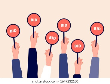 Auction bidding. Hands holding bids. Sale and buyers, business competitors on financial auctioneer. Flat arm with tablet vector illustration
