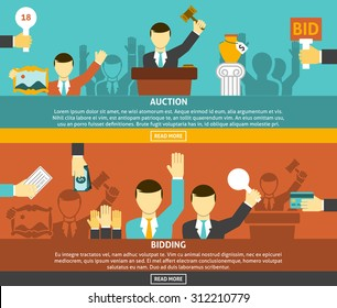 Auction and bidding horizontal banners set with hands and money flat isolated vector illustration