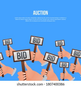 Auction bidding. Potential buyer, business competitor or financial auctioneer human hand holding BID decision sign card. Online public auction bidding illustration. Vector commercial sale poster.
