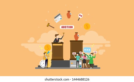 Auction Bidding Tiny People Character Concept Vector Illustration, Suitable For Wallpaper, Banner, Background, Card, Book Illustration, Web Landing Page, and Other Related Creative