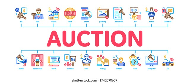 Auction Buying And Selling Goods Minimal Infographic Web Banner Vector. Internet Auction And Application, Hammer And Car, Agreement And Bid, House And Picture Illustration