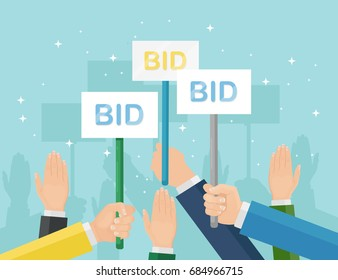 Auction competition. Hand holding paddles with number and BID inscriptions. Business bidding process. Buying things by offering price, trade. Vector illustration. Flat style design