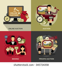 Auction concept icons set with art and bidding symbols flat isolated vector illustration