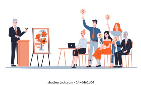Auction concept. Taking action in auction and bidding price. Bid and buy art online. Isolated vector illustration in cartoon style