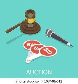 Auction flat isometric vector concept. Hammer, microphone and bidding paddles.