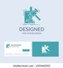 Auction, gavel, hammer, judgement, law Business Logo Glyph Icon Symbol for your business. Turquoise Business Cards with Brand logo template.