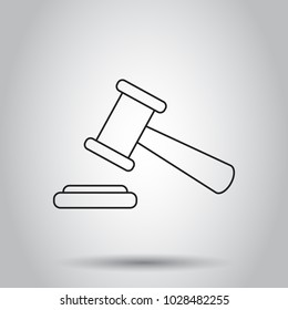Auction hammer icon in line style. Vector illustration on isolated background. Business concept court tribunal pictogram.