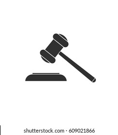 Auction hammer symbol. Law judge gavel icon. Simple gray icon isolated on white background.