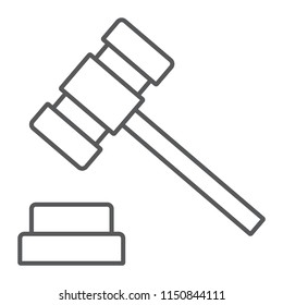 Auction hammer thin line icon, finance and banking, judge sign, vector graphics, a linear pattern on a white background, eps 10.