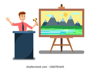 Auction House and Bidding Banner Vector Illustration. Man Auctioneer with Gavel. Sales in Art Gallery. Making Purchases of Masterpieces. Landscape Painting Lot. Professional Auction Business.