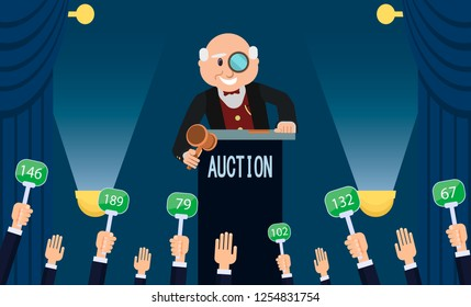 Auction House and Bidding Concept. Man Auctioneer with Gavel. Sales in Art Gallery. Landscape Painting Lot. Professional Auction Business. People Buyers Bargain for Picture. Vector Flat Illustration.