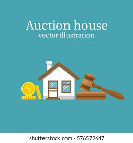 Auction house. Concept bidding on home. Gavel, house, cash, coins isolated on background. Buying, selling or foreclosure. Vector illustration flat design. The trial of the property.