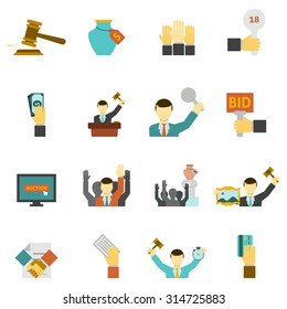 Auction icons set with hammer hands and money flat isolated vector illustration