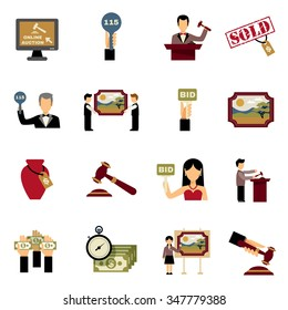 Auction icons set with hammer hands and money symbols flat isolated vector illustration