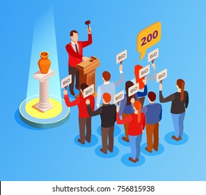 Auction isometric composition with antique vase put out for bids and human characters of auctioneer and crowd vector illustration