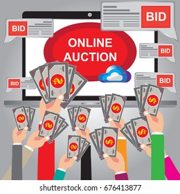 Auction Online concept with web site in a laptop - Hand holding moneys for bid online with web site - Auction of concept