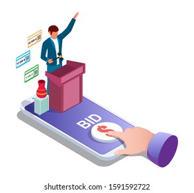 Auction online, vector illustration. Isometric smartphone, auctioneer and finger tapping bid button on screen. Auction and internet bidding from mobile phone concept for web banner, website page etc.