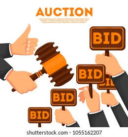 Auction public sale poster with human hands holding BID signs. Potential buyers making higher bids to get goods and property. Auctioneer with thumb up and auction hammer vector illustration