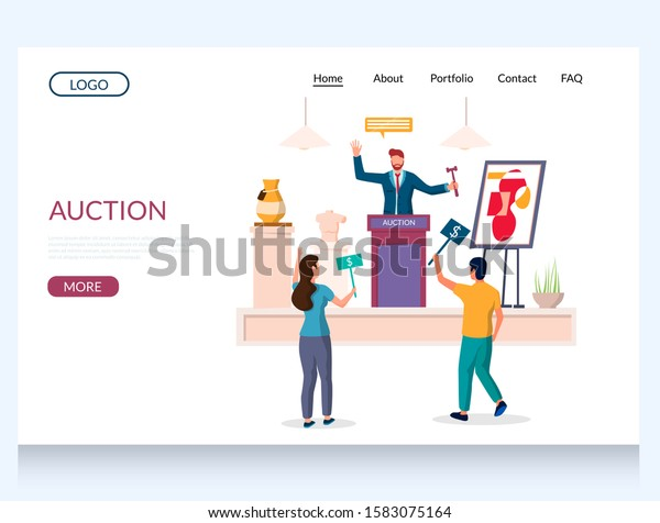 Auction Vector Website Template Web Page Stock Vector Royalty Free 1583075164