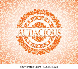 Audacious abstract orange mosaic emblem with background