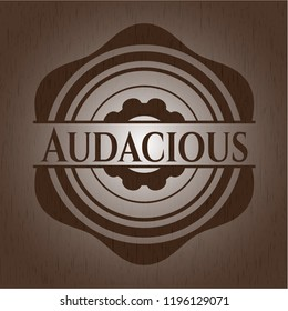 Audacious badge with wood background