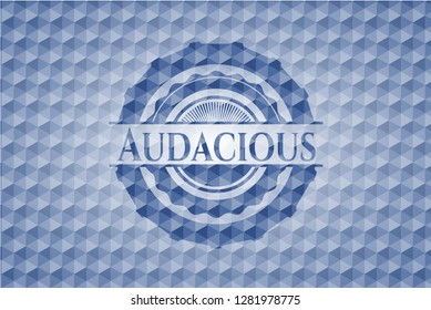 Audacious blue emblem with geometric background.