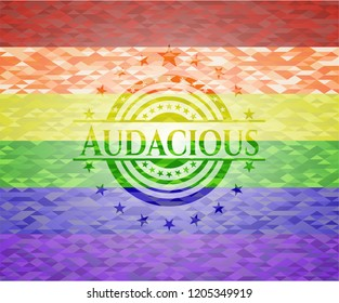Audacious emblem on mosaic background with the colors of the LGBT flag