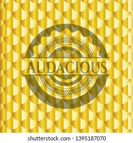 Audacious gold shiny badge. Scales pattern. Vector Illustration. Detailed.