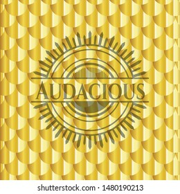 Audacious golden badge or emblem. Scales pattern. Vector Illustration. Detailed.