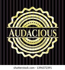 Audacious golden emblem or badge. Vector Illustration. Detailed.