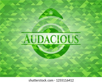 Audacious green emblem with mosaic background