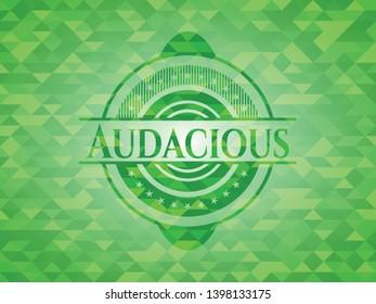 Audacious green emblem. Mosaic background. Vector Illustration. Detailed.