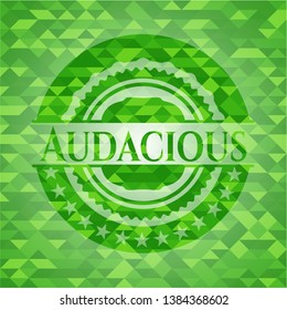 Audacious green emblem with triangle mosaic background. Vector Illustration. Detailed.