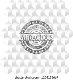 Audacious grey badge with geometric cube white background