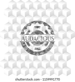 Audacious grey emblem with geometric cube white background