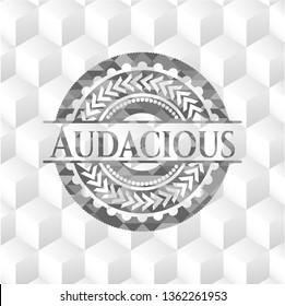 Audacious grey emblem. Retro with geometric cube white background