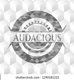 Audacious grey emblem. Vintage with geometric cube white background
