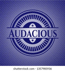 Audacious jean or denim emblem or badge background
