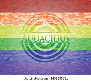 Audacious lgbt colors emblem. Vector Illustration. Mosaic.