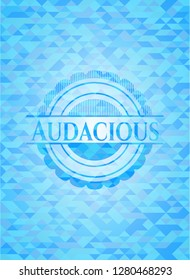 Audacious light blue emblem with triangle mosaic background