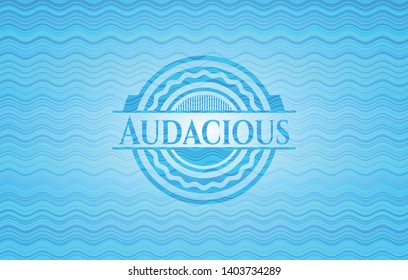 Audacious light blue water wave style badge. Vector Illustration. Detailed.